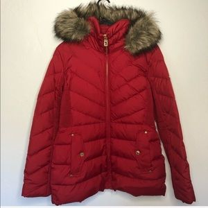 Micheal Kors red fur trim down jacket coat gold